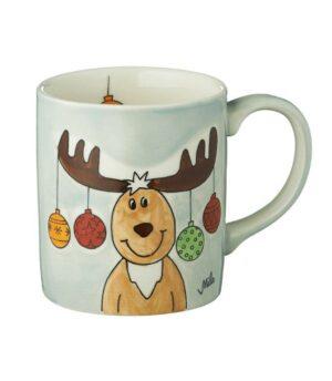 Mila Elch Theo Becher - 280 ml - Keramik - niedlicher Weihnachtsbecher 80192