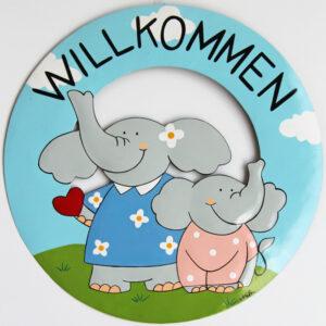 Mila Elefanten Willkommensschild - Metall