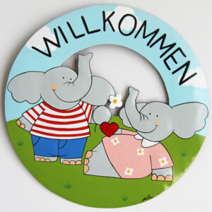 Mila Elefantenpärchen Willkommensschild - Metall