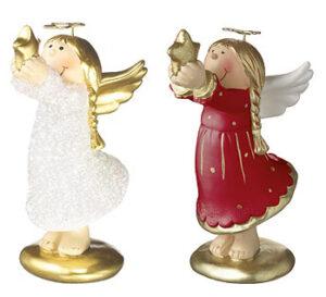 Mila Engel mit Stern - Lisa Schutzengel in rot oder weiß glitzer