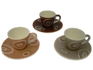Mila Espresso-Set Kringel - Mokka Tasse mit Untertasse