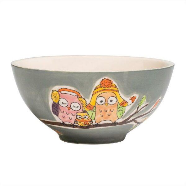 Mila Eulen Familie Piepmatz Schale - Keramik Geschirr 85213