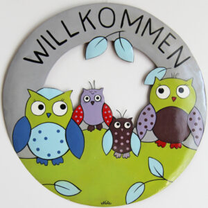 Mila Eulen Willkommensschild - Metall