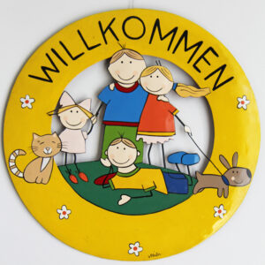 Mila Familie Willkommensschild - Metall