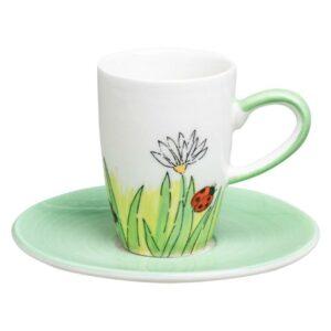Mila Frühlingserwachen Espresso Set Marienkäfer -Tasse mit Untertasse - Keramik 88225