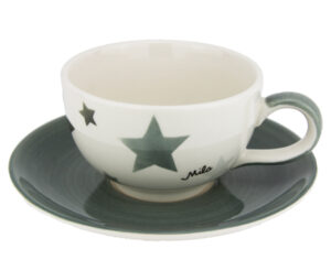 Mila Grey Stars Cappuccino Tasse - Graue Sterne Tasse