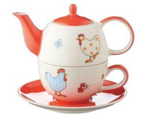 Mila Hühner Tea for one - Teekanne 0,4 L mit Tasse und Untertasse + Geschenkverpackung - Keramik