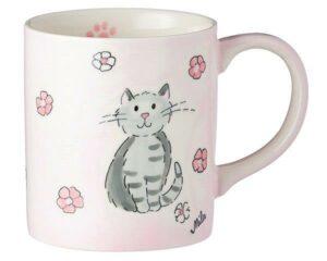 Mila Katze Mia Becher - 280 ml - Keramik - Katze Becher rosa 80204