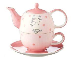 Mila Katze Mizzi Tea for One - Teekanne 0,4 L mit Tasse und Untertasse + Geschenkverpackung