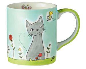 Mila Katze in Blumenwiese Becher - 280 ml - Tasse - Keramik - Katzen Becher