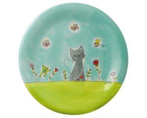 Mila Katze in Blumenwiese Teller - Geschirr - Keramik - Katze Teller 84206