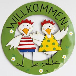 Mila Kiki - Hühner Willkommensschild - Metall