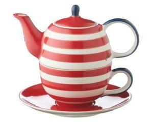 Mila Maritim Tea for one - Teekanne 0,4 L mit Tasse und Untertasse + Geschenkverpackung - Keramik