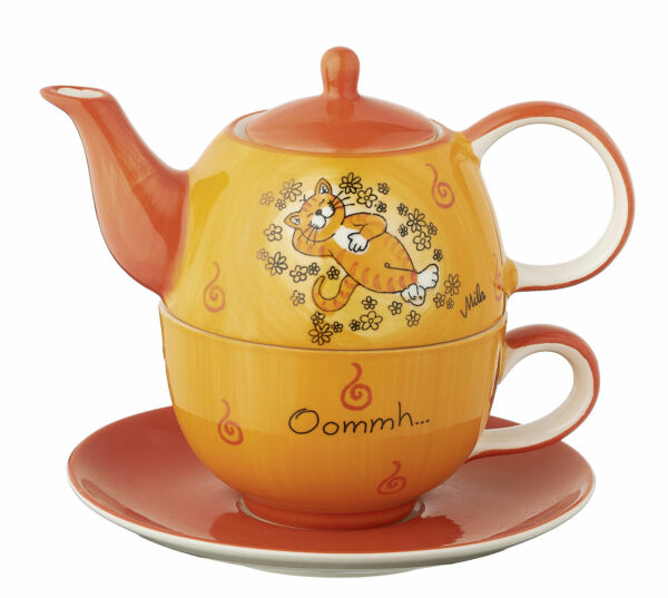 Mila Oommh.. Verschnaufpause Tea for One Katze - Teekanne 0,4 L mit Tasse und Untertasse + Geschenkverpackung