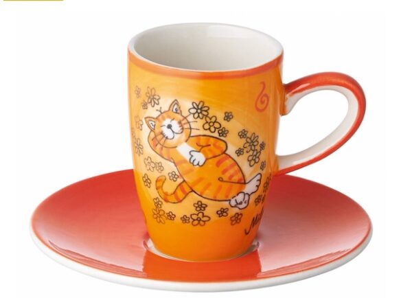 Mila Oommh.. Verschnaupause Espresso-Set Katze -Tasse mit Untertasse - Keramik
