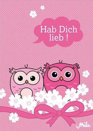 Mila Postkarte Hab dich lieb - Liebe Karte Eulen