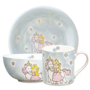 Mila Prinzessin mit Einhorn Sammler Set - Becher + Teller + Kinderschale 5555233