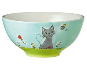 Mila Schale Katze in Blumenwiese- Müslischale - Keramik Geschirr