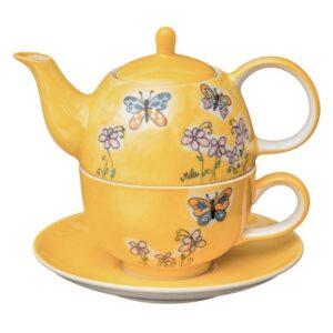 Mila Schmetterlinge Tea for one - Teekanne 0,4 L mit Tasse und Untertasse + Geschenkverpackung 992261