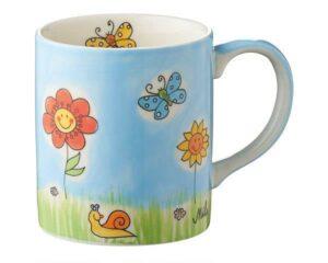 Mila Sommerblumen Becher - 280 ml - Tasse - Henkelbecher - Keramik - Blumenwiese Becher