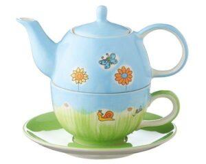 Mila Sommerblumen Tea for one - Teekanne 0,4 L mit Tasse und Untertasse + Geschenkverpackung - Keramik