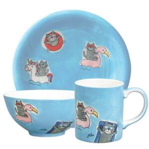 Mila Summer Cats Sammler Set - Becher + Teller + Schale lustige Katzen Geschirr