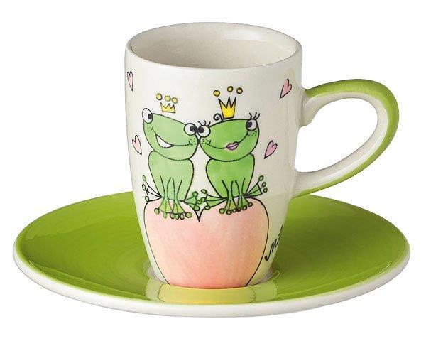 Mila True Love II Espresso-Set - Tasse mit Untertasse - Keramik - Froschkönig Liebe