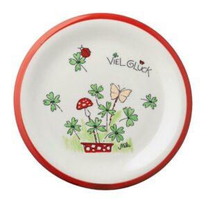 Mila Viel Glück Teller Geschirr – Keramik Teller - Durchmesser 22 cm