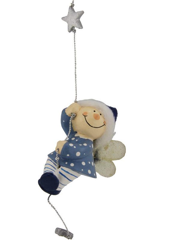 Mila Winterfee am Seil - winterliche Fee Figur zum Aufhängen blau
