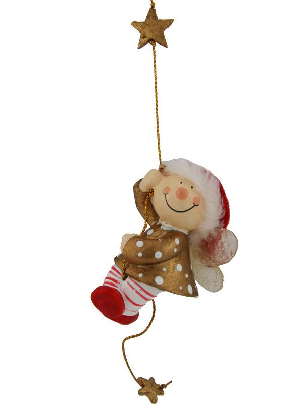 Mila Winterfee am Seil - winterliche Fee Figur zum Aufhängen rot