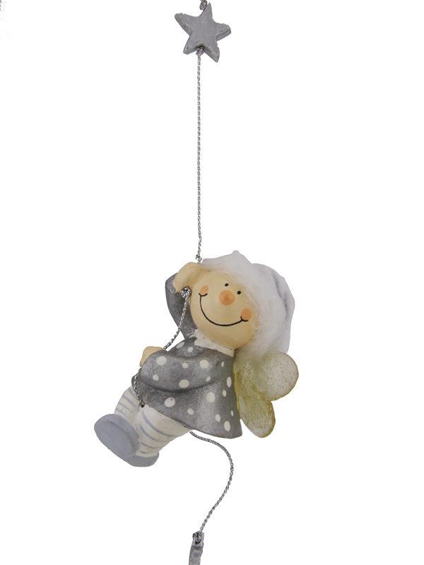 Mila Winterfee am Seil - winterliche Fee Figur zum Aufhängen silber