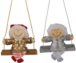 Mila Winterfee auf Schaukel- winterliche Fee Figur zum Aufhängen