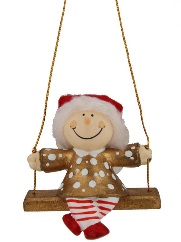 Mila Winterfee auf Schaukel- winterliche Fee Figur zum Aufhängen gold