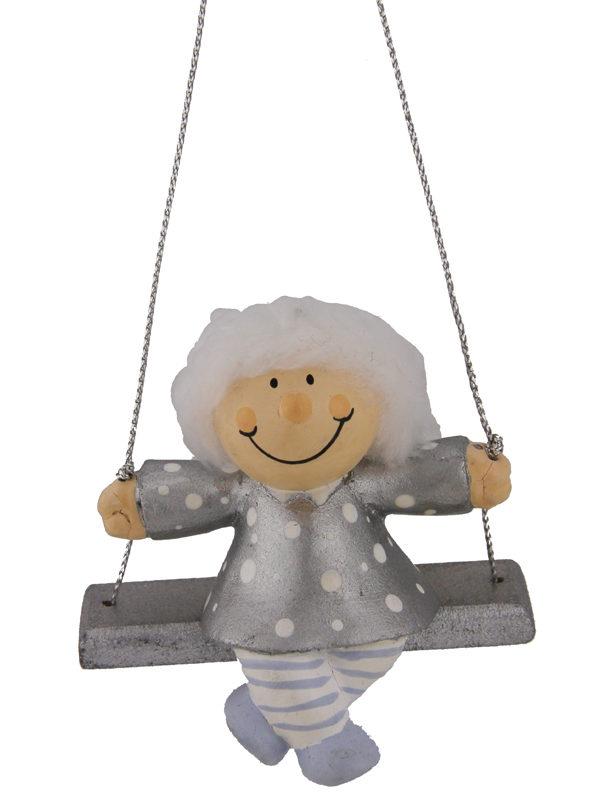Mila Winterfee auf Schaukel- winterliche Fee Figur zum Aufhängen silber
