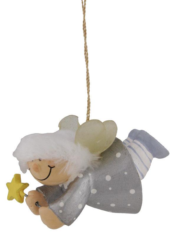 Mila Winterfee fliegend - winterliche Fee Figur zum Aufhängen Silber