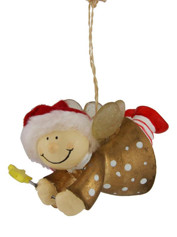 Mila Winterfee fliegend - winterliche Fee Figur zum Aufhängen gold