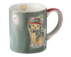 Mila Winterkatze Becher - 280 ml - Tasse - Henkelbecher - Keramik