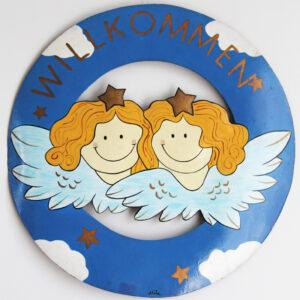 Mila zwei Engel Willkommensschild - Metall