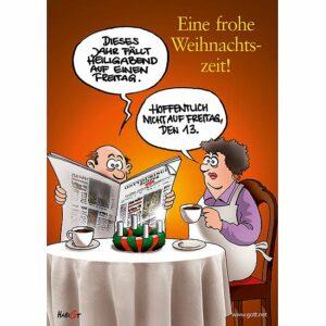 Mini Doppelkärtchen Zeitung - eine Comic Karikatur zur Weihnachtszeit