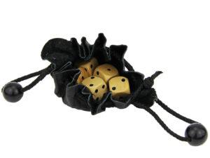 Mini Würfelset im Lederbeutel - 5 Würfel Pocketsize