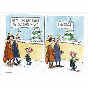 Minikärtchen Erlösung - eine lustige Karte zur Weihnachtszeit