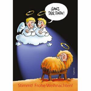 Minikärtchen Ganz der Papa - eine Comic Karikatur Karte zur Weihnachtszeit