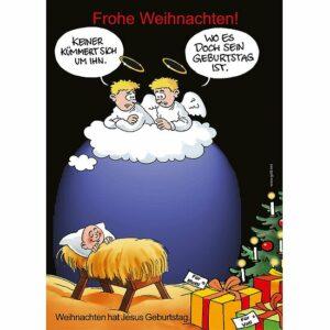 Minikärtchen Weihnachten hat Jesus Geburtstag - Comic Karikatur Karte