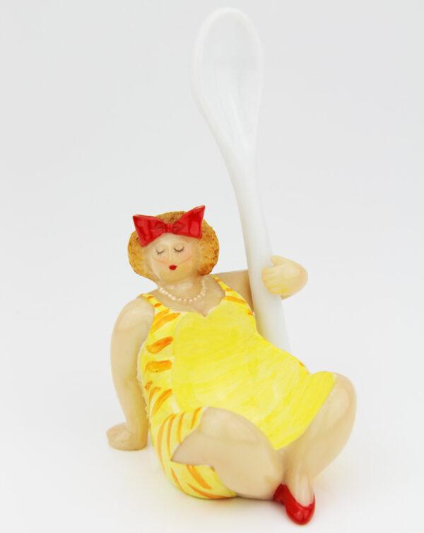 Molly Eierbecher mit Löffel - lustige mollige Dame mit Eierlöffel