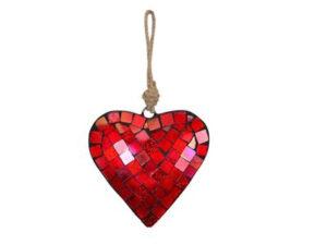 Mosaik Herzhänger Mozac – Metall Herz Spiegelmosaik, rot 226508