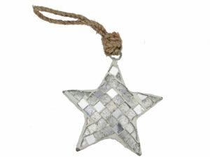 Mosaik Stern Hänger - Spiegel Stern silber weiß SternHänger MOZAC