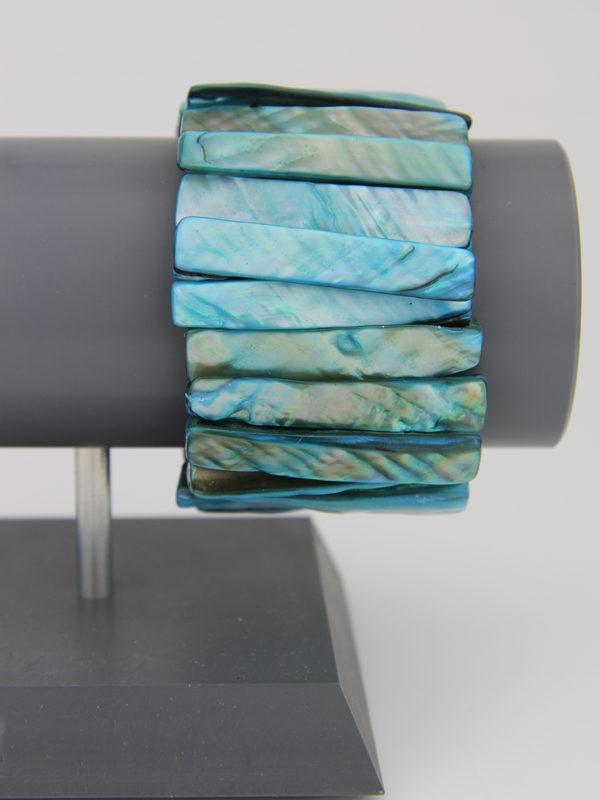 Muschelarmband türkis - breites perlmutt Armband