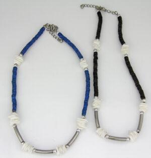 Muschelkette unisex - blau oder schwarz
