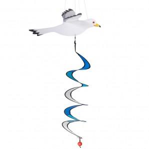 Windspiel Sturmmöwe Twister Möwe mit Spirale - Küstenwindspiel zum Aufhängen