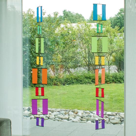 Fenstergirlande Tambouri Windows Regenbogen Mobile Quadrate Hängedekoration XXL